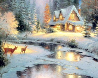 New-mosaic-full-laid-diamond-painting-embroidery-Snow-landscape-River-Christmas-Deer-tree-cottage-beads-cross